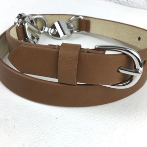 Chico's belt women M leather & metal harness style